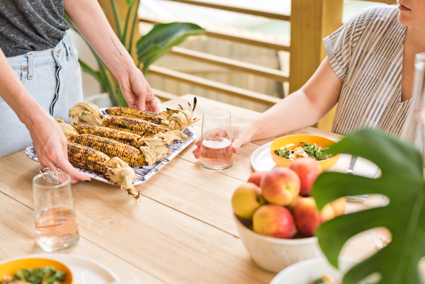 Summer entertaining essentials...grilled corn and peaches!