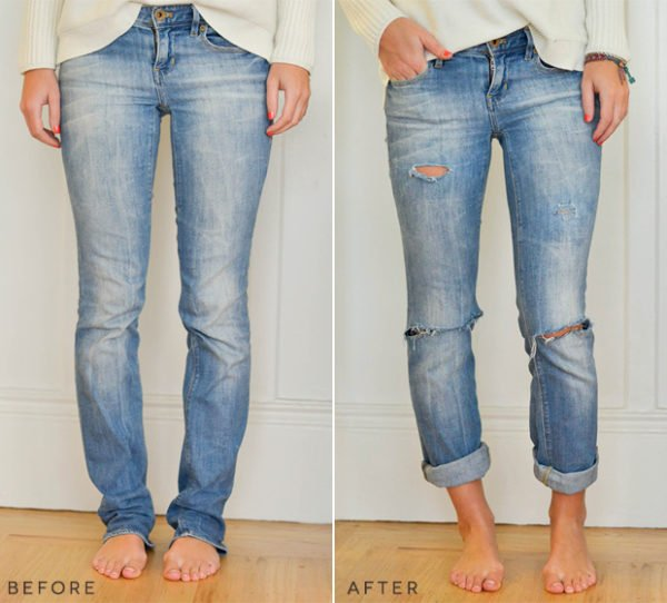How to turn regular jeans into relaxed fit boyfriend jeans. #denim #denimdiy #jeansdiy #fashiondiy