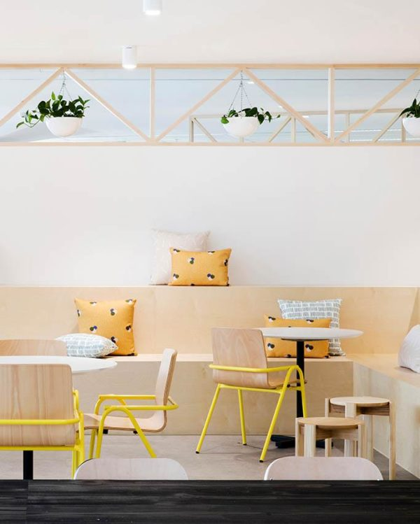 Restaurant design featuring Dowel Jones Hurdle chair. Get down (under) with 18 Inpsiring Australian Designers and Artists #australiandesign #australia #designinspiration #yellow #chair