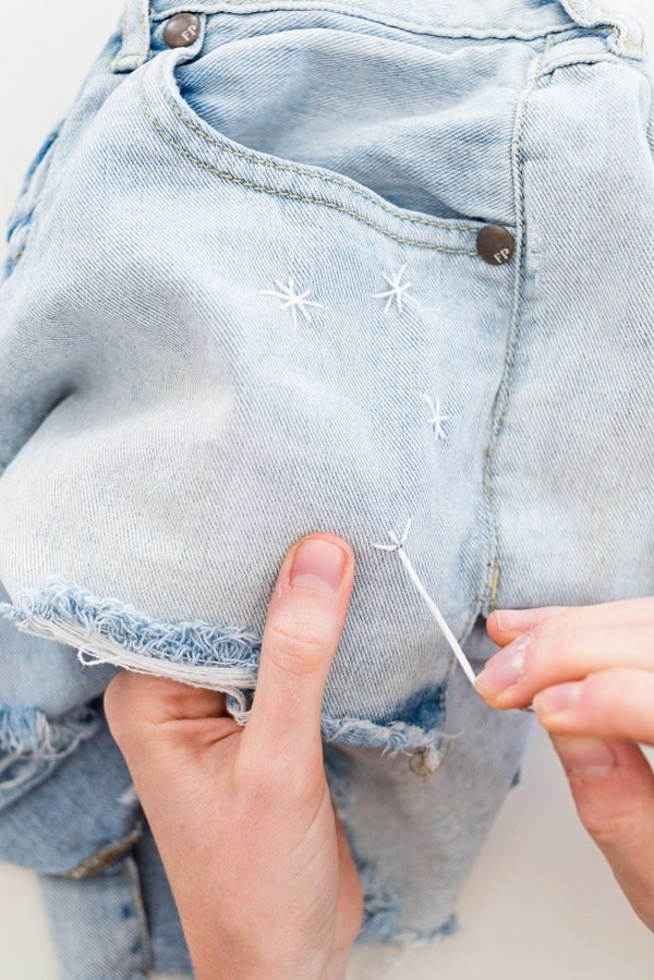 How to embroider jean shorts. #julyfourth #fourthofjuly #diy #jeanshorts #embroidery