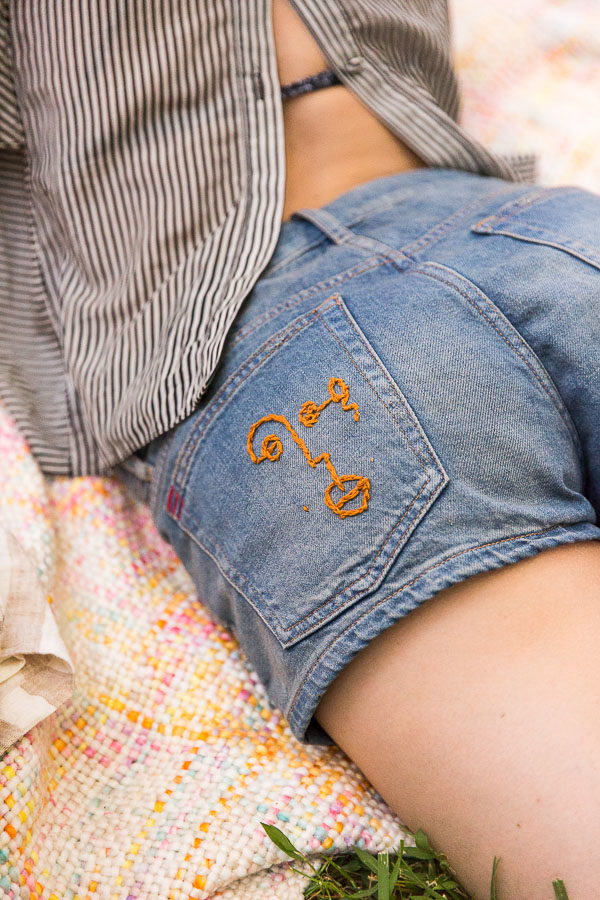 DIY embroidered denim. Check out 13 ways to upgrade denim clothing. #denim #denimdiy #jeansdiy #fashiondiy