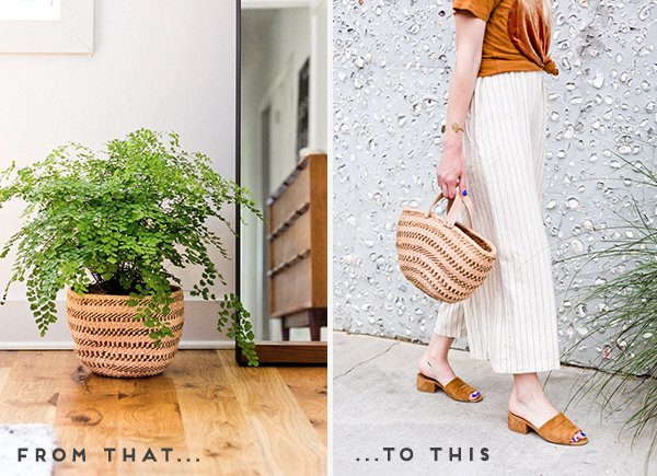Convert any basket to an on-trend basket bucket bag for summer. Click through for the tutorial. #diyfashion #diypurse #diybag #summerdiy