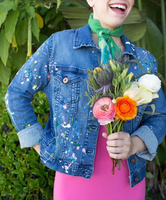DIY Splatter Paint Denim jacket Tutorial from OH Joy! Check out 13 Ways to Upgrade Denim Clothing. #denim #denimdiy #jeansdiy #fashiondiy