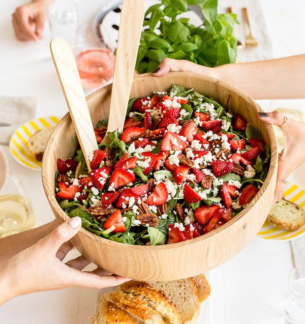 Simple Strawberry Pecan Salad with Feta Recipe. Check out 42 of the Best Summer Recipes to Get you Ready for July Fourth.