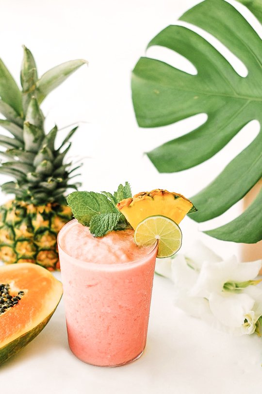 Watermelon Papaya Rum Smoothie Recipe. Check out 42 of the Best Summer Recipes to Get you Ready for July Fourth.