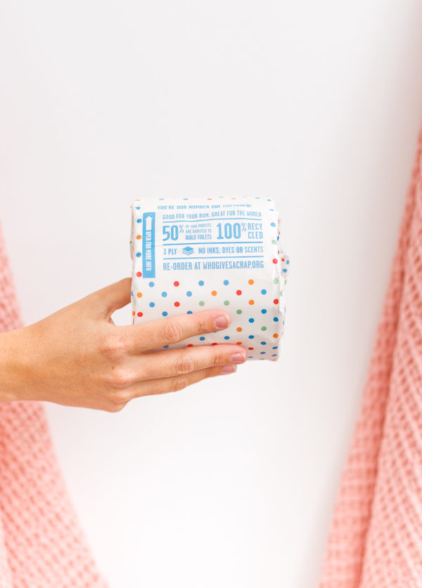 Who Gives a Crap toilet paper... 50% of profits go to building toilets and supporting sanitation in developing countries. Must-Have Essentials for Every Guest Bathroom! Click through for bathroom essentials from Brittni Mehlhoff of Paper and Stitch and a sneak peek into her minimal guest bath with pops of pink. #bathroominspo #minimalbathroom #modernbathroom #bathroomstyle