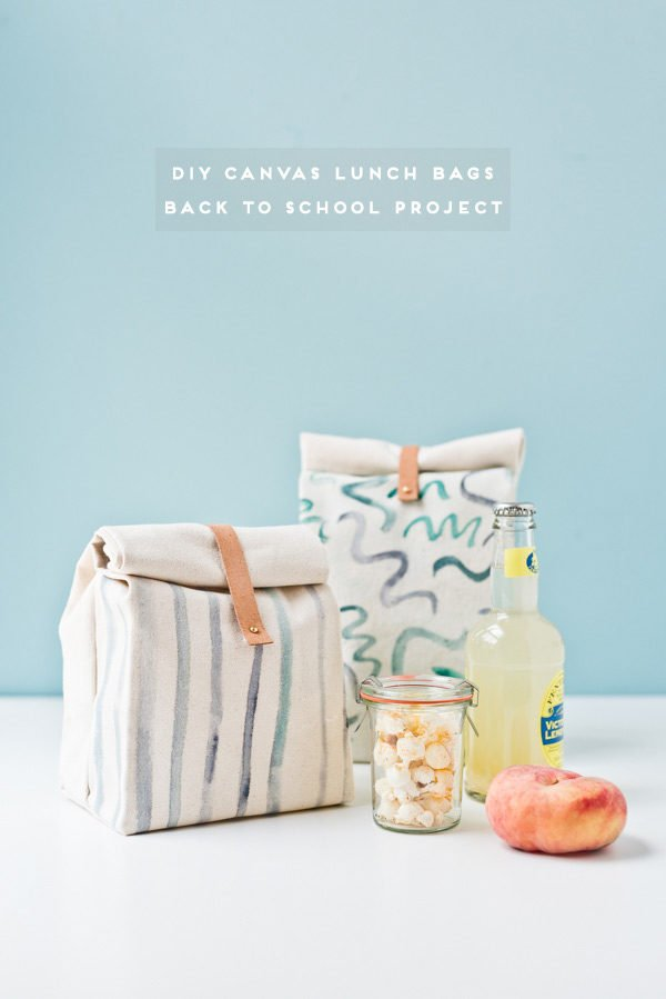 How to Make a Canvas Lunch Bag for Back to School. Click through for the tutorial. #backtoschool #diybacktoschool #lunchbag #diylunchbag #diylunchbox #backtoschoolproject #kidsproject #diykidsproject