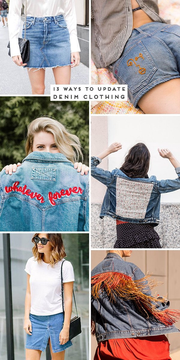 13 Ways to Upgrade Denim Clothing. Click through for all 13 ideas. #diyideas #diydenim #weekendprojects