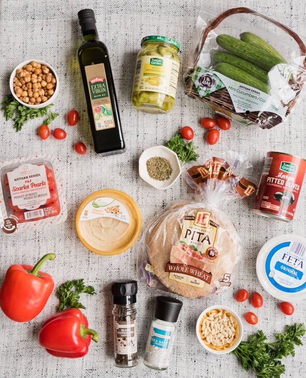 Ingredients for easy greek hummus board. Great entertaining idea! #hummusboard #summereasyrecipe