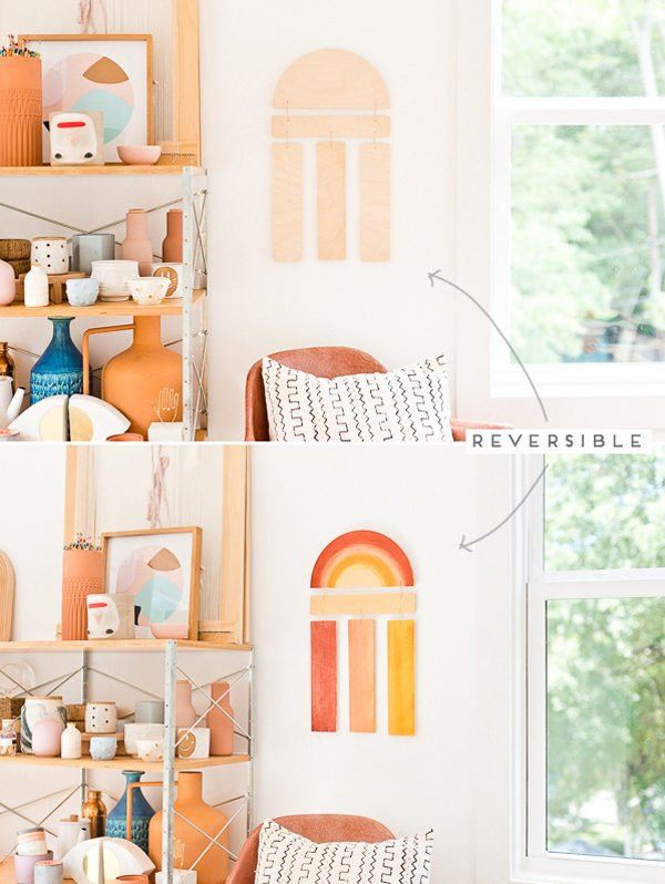 DIY Wall Art Idea! Learn how to make this reversible DIY wood wall hanging from just two pieces of wood. #diy #diyart #wallhanging #woodproject #wallart