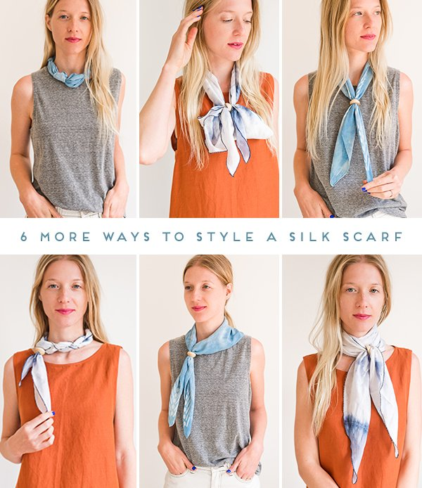 6 More (DIY) Ways to Style a Silk Scarf. Click through for all six ideas, with step by step photos for recreating each look at home. #scarfstyling #howtostylescarf #silkscarf #fashiondiy #fashionstyling