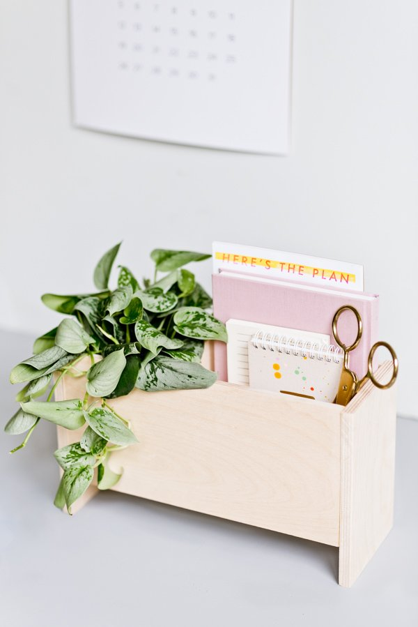 Get organized for back to school (or at home) with this modern DIY desk organizer and planter caddy. #backtoschool #backtoschooldiy #organization #diyorgnaizer #deskdiy #homedecordiy #woodproject #modernwoodproject
