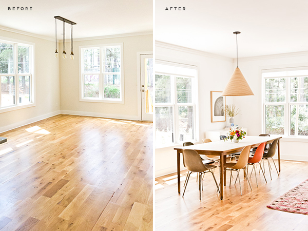 Before and After: An organic modern dining room makeover. Click through to visit the home of Brittni Mehlhoff, editor of Paper and Stitch. #organicmoderndecor #organicmoder #diningroom #midcenturydiningroom #minimalmoderndining