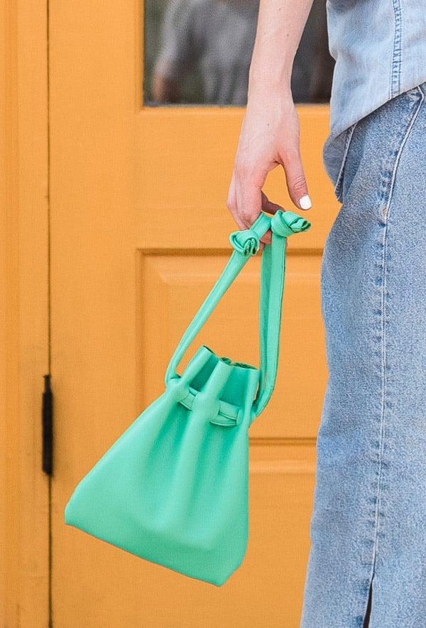 DIY Purse! The Easiest Way to Make a Leather Drawstring Bag. #diybag #diypurse #diyfashion #fashiondiy #drawstringpurse