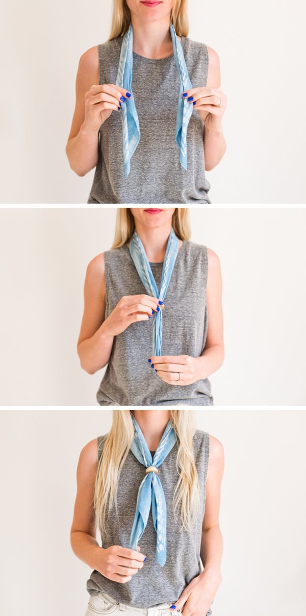 How to style the bolo tie. Click through for all six ways to style a silk scarf, with step by step photos for recreating each look at home. #scarfstyling #howtostylescarf #silkscarf #fashiondiy #fashionstyling