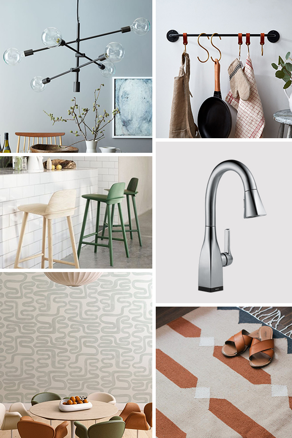 Mood board for a modern kitchen makeover (and all the ideas are renter friendly)! #beforekitchen #kitchenmakeover #kitcheninspiration #renterfriendlymakeover