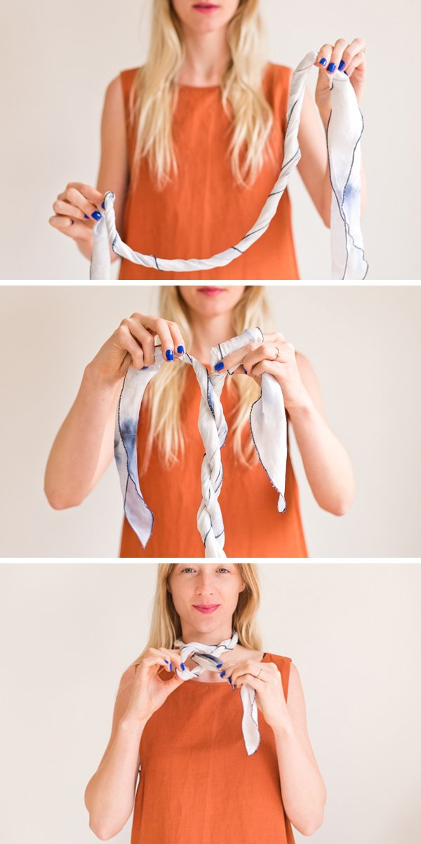 How to style 'the twisted necklace'. Click through for all six ways to style a silk scarf, with step by step photos for recreating each look at home. #scarfstyling #howtostylescarf #silkscarf #fashiondiy #fashionstyling