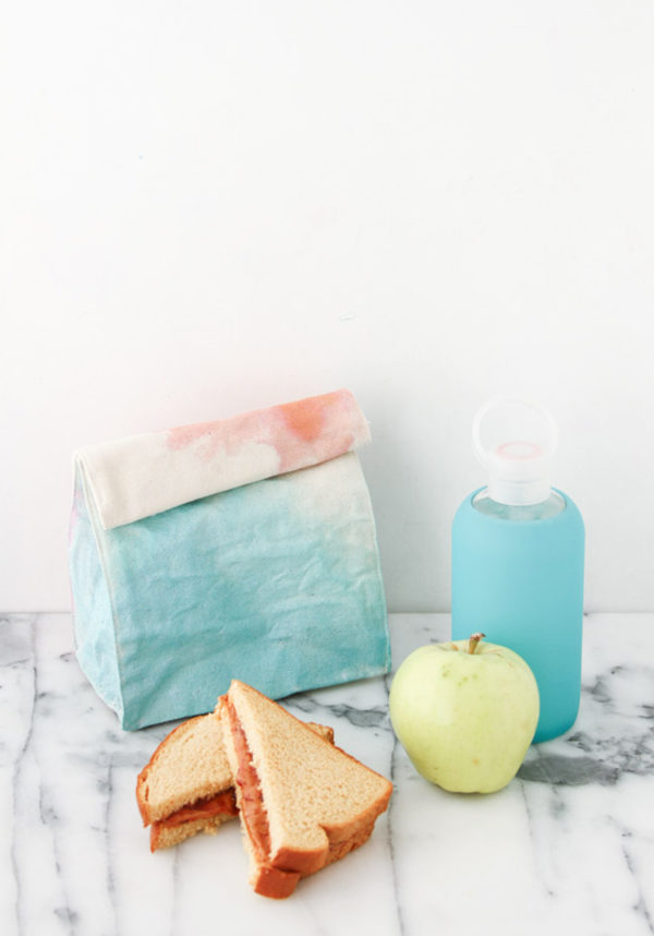 Watercolor lunch bags DIY for back to school. Click through for all 24 unique back to school ideas. #backtoschool #backtoschooldiy #diy #diyideas #backtoschoolideas