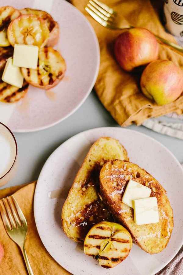 Fall french toast with grilled apples!