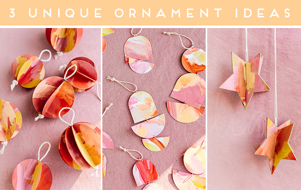 Click through for 3 unique DIY holiday ornament ideas. #diy #holiday #christmas #diyornament #diyholiday #ornament #watercolor