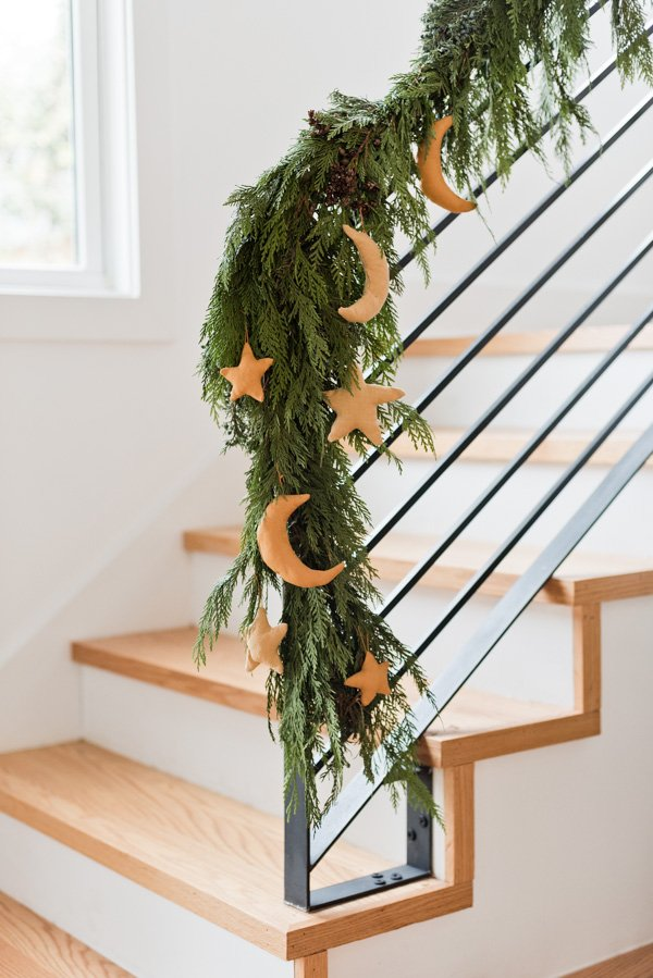 How to Make Star and Moon Ornaments for the Holidays. Click through for the tutorial. #ornament #diyornament #diyholiday #holidaydecor #christmas #staircase #crescentmoon