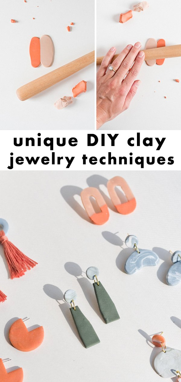 DIY clay jewelry techniques for making earrings, necklaces, bracelets, and more. #diy #diyjewelry