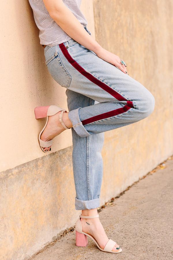 The Most Loved Projects Of 2018 (According To You): Velvet Side Stripe Pants DIY #velvetpants #velvetstripes #jeandiy #diyfashion #fashion #diy