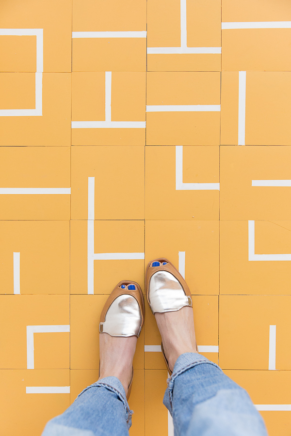 The Most Loved Projects Of 2018 (According To You): DIY Hand Painted Floor Tiles Project #floortile #pattern #tilepattern #yellow #mustardyellow