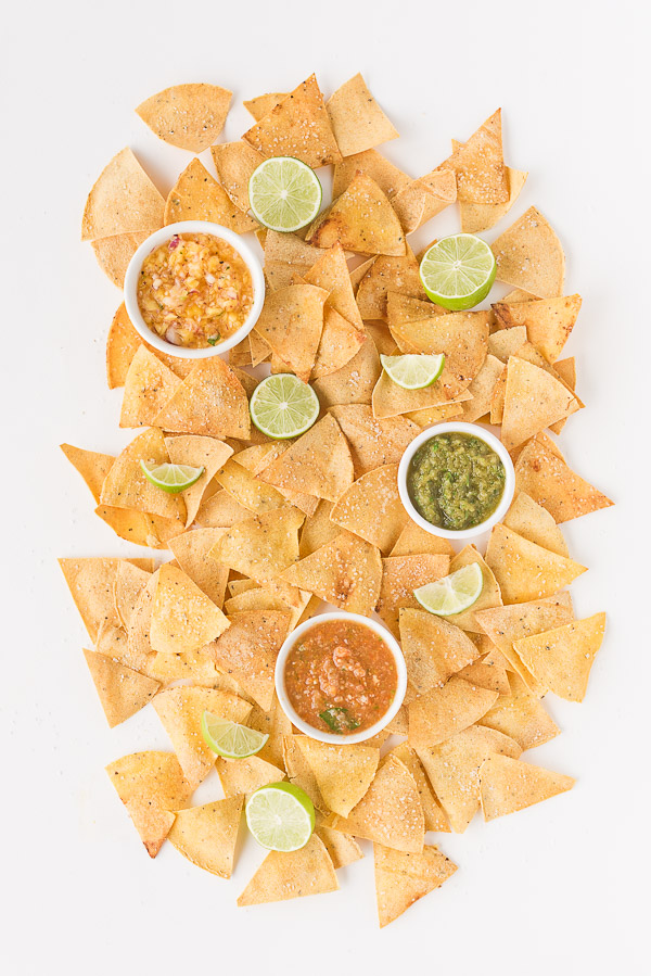 Homemade chips and salsa with lime. Click through for the recipes. #chipsandsalsa #recipe #yum