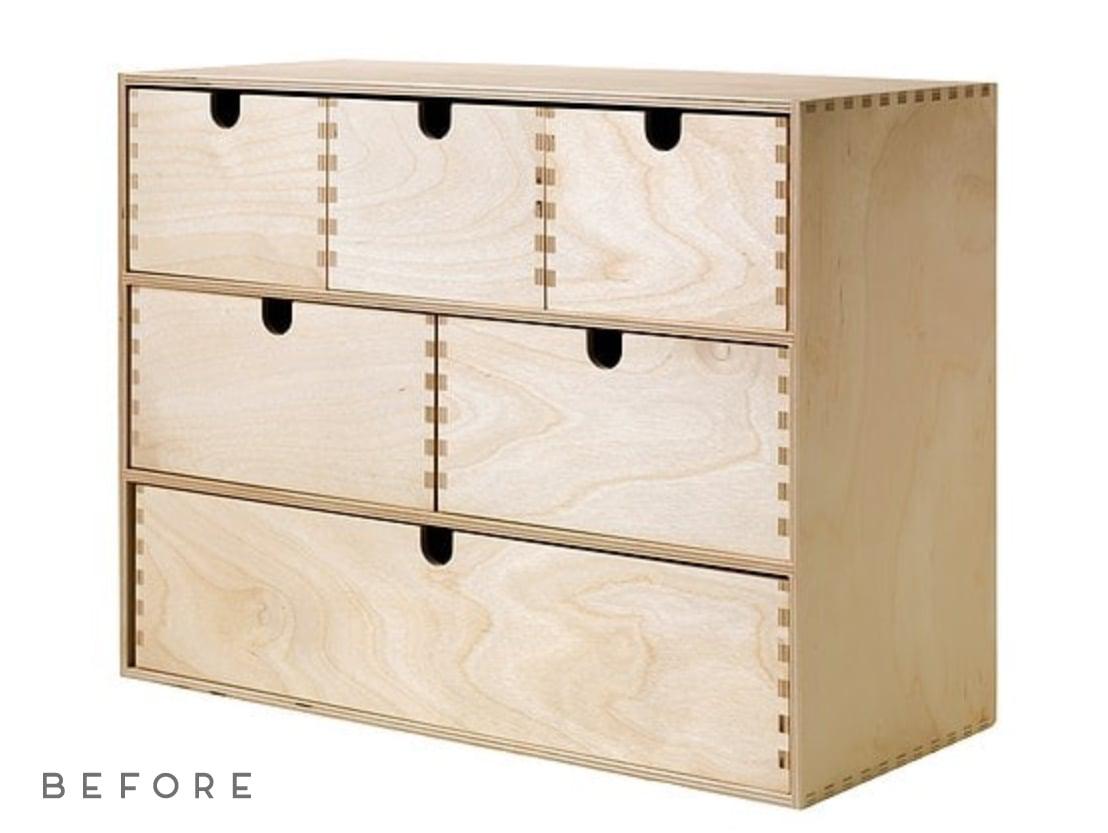 (DIY) A Minimal Modern Ikea Hack that will Instantly Elevate Your Moppe Mini Storage Chest. #ikeahack #diy #deskorganizer #desk #woodorganizer #