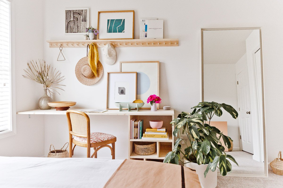 horizontal view diy desk styled with vintage finds and0chair