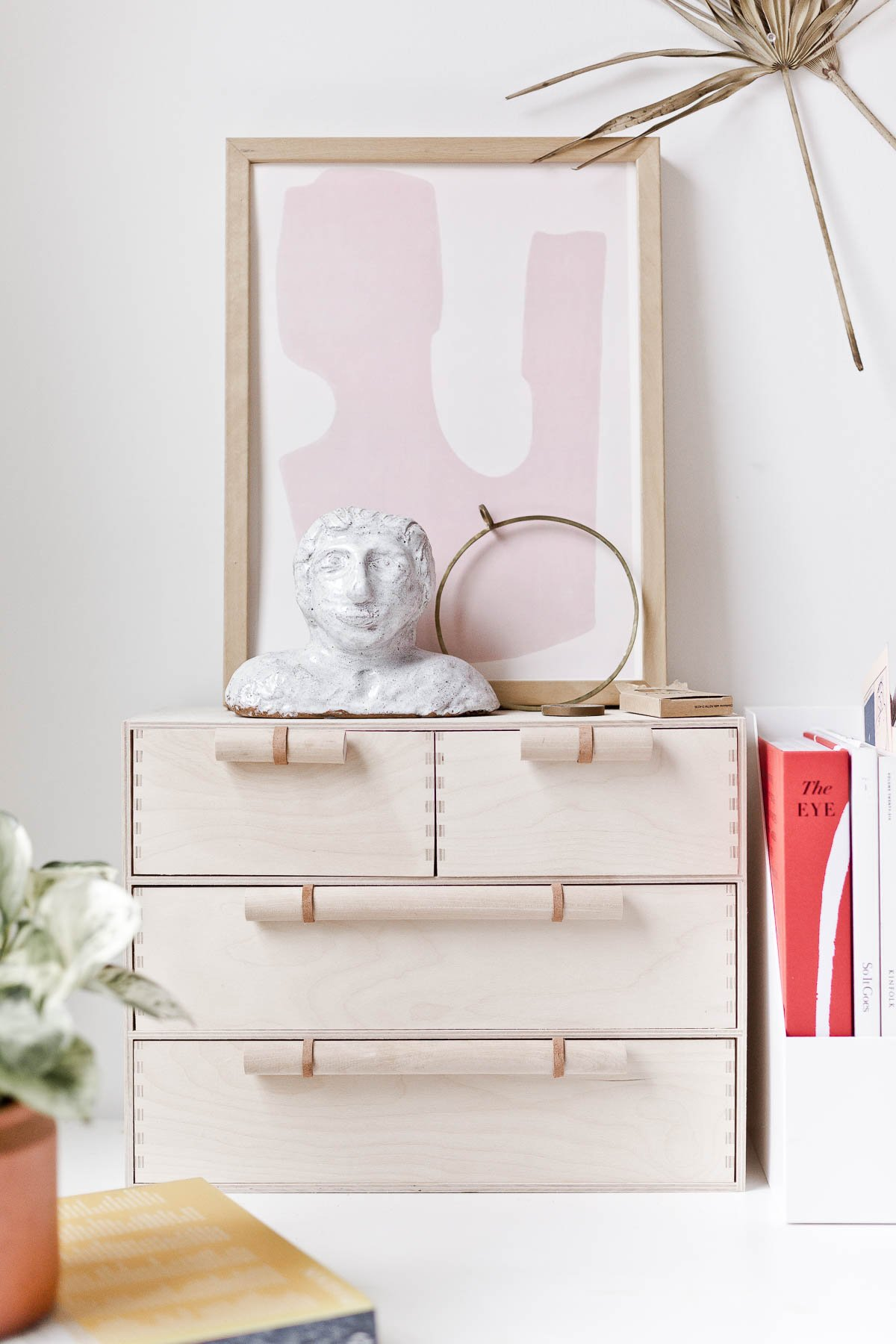 (DIY) A Minimal Modern Ikea Hack that will Instantly Elevate Your Moppe Mini Storage Chest. #ikeahack #diy #deskorganizer #desk #woodorganizer #