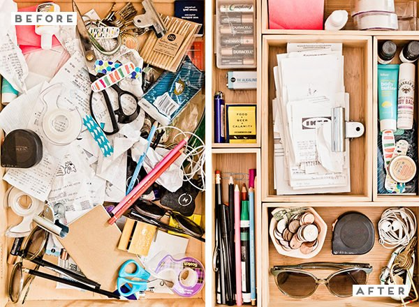 Before and After: How to Organize Your Junk Drawer Once and For All (in 5 Minutes)! #organization #junkdrawer #organized #organizedjunkdrawer #getorganized