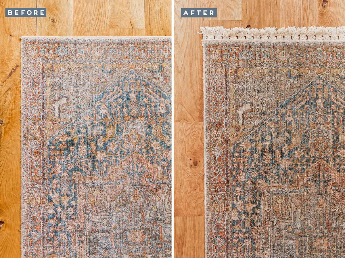 DIY Rug Hack: How to Upgrade an Inexpensive Rug for $10 (in under 10 Minutes) #diy #diyrug #rug #homedecor #diydecor