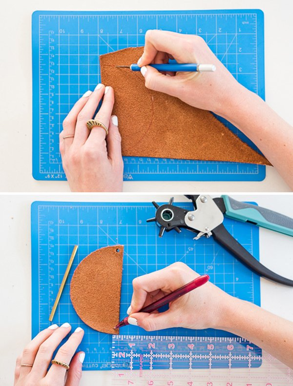 30 Minute DIY to Try: How to Make a Unique DIY Necklace with Brass and Leather. #diyjewelry #diynecklace #leather #leatherjewelry #diy  #summerdiy #summer