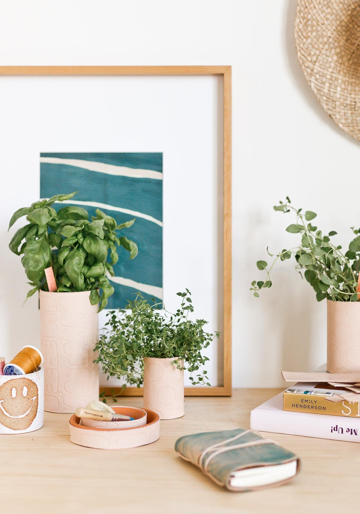 3 Cool (DIY) Things to Make with Leather Right Now. Wanna make something with leather? Try these unique DIY leather ideas that you cane embellish with a Cricut Maker with embossed patterns and more. #leather #diy #leatherdiy #homedecor #workspace #desk #indoorherbgarden