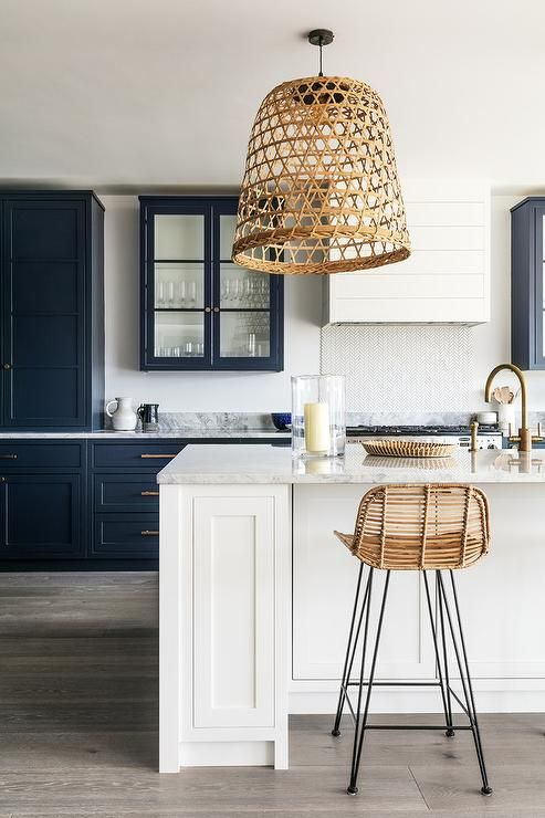 "Statement lighting idea you could DIY. Check out the latest ""I Spy DIYs"" for more inspiration. #diy #basket #lighting #kitchen"