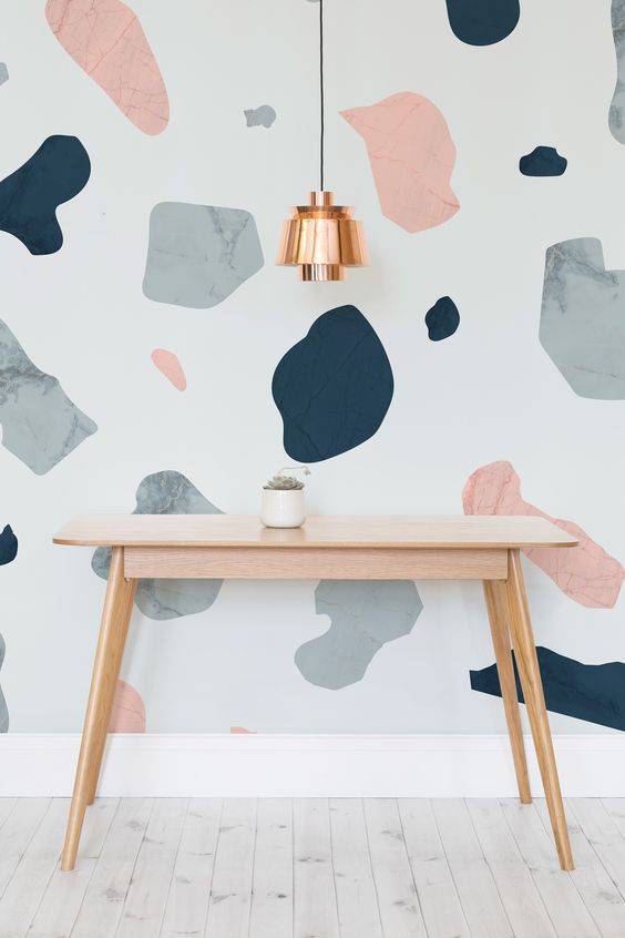 "DIY your own terrazzo wall mural. Check out the latest ""I Spy DIYs"" for more inspiration. #diy #terrazzo #wallpaper #contactpaper #ideas #wallcovering #mural"