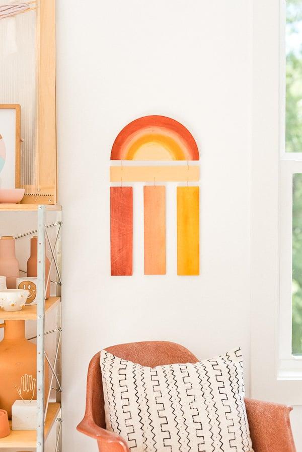Make a (Reversible) DIY Modern Wood Wall Hanging. #diy #diyart #wallhanging #wood