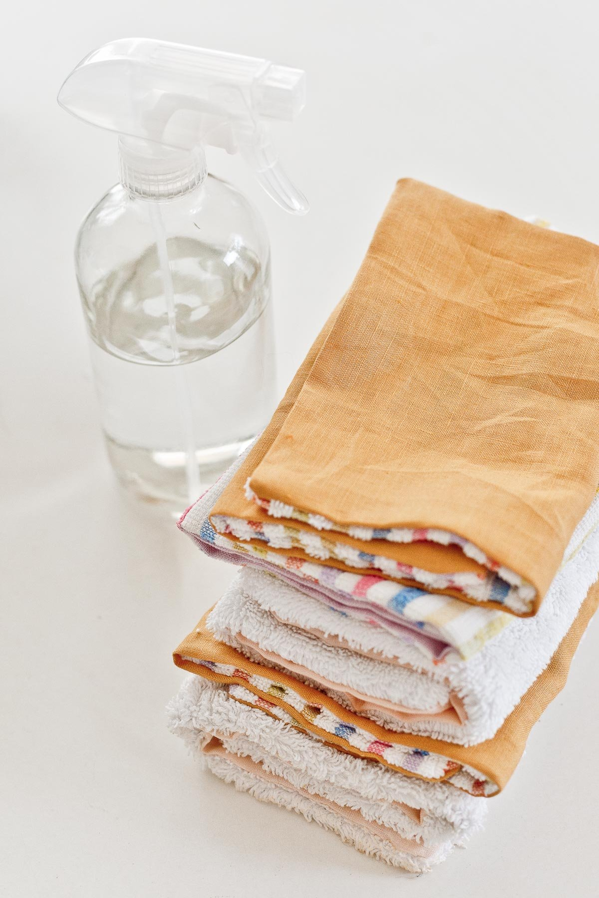A stack of DIY unpaper towels for everything from cleaning and spills to wiping any faces, etc.