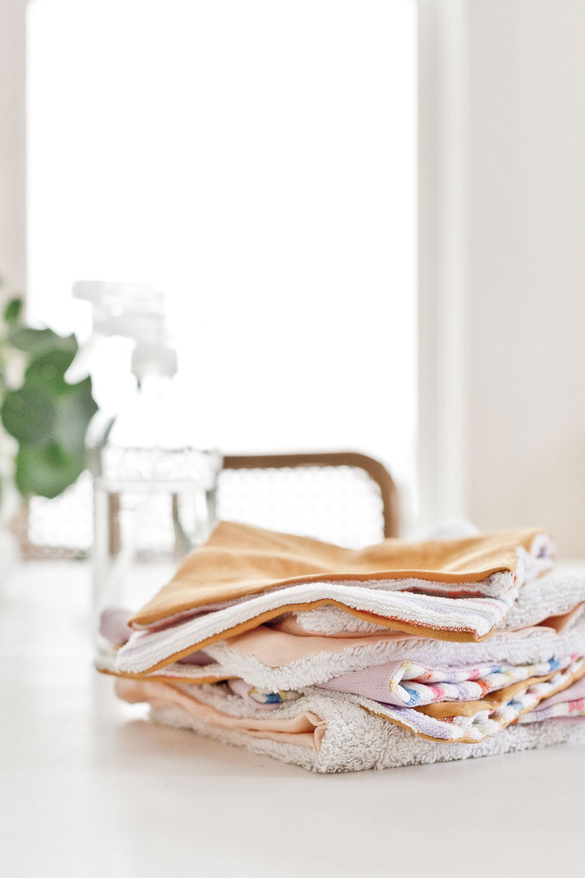 A stack of unpaper towels made of fabric scraps in 15 minutes or less.