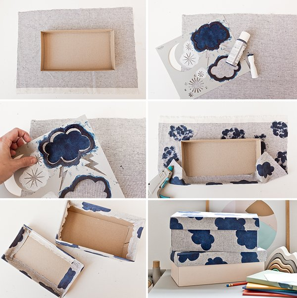 How to turn an old shoe box into a fabric covered box for organizing small and/or loose items. Great for back to school or everyday organization. #diy #organization #storageboxes #decor #backtoschool #kidscrafts #kidsroom
