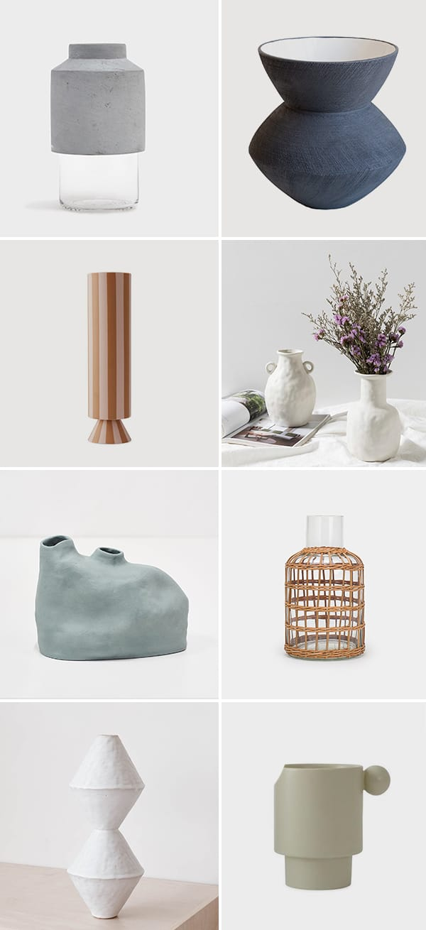 Images of various modern vases in neutral colors and different sizes.