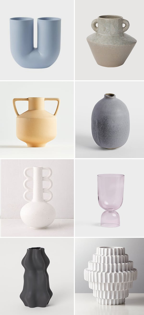 Image of 8 modern vases of different colors and shapes.