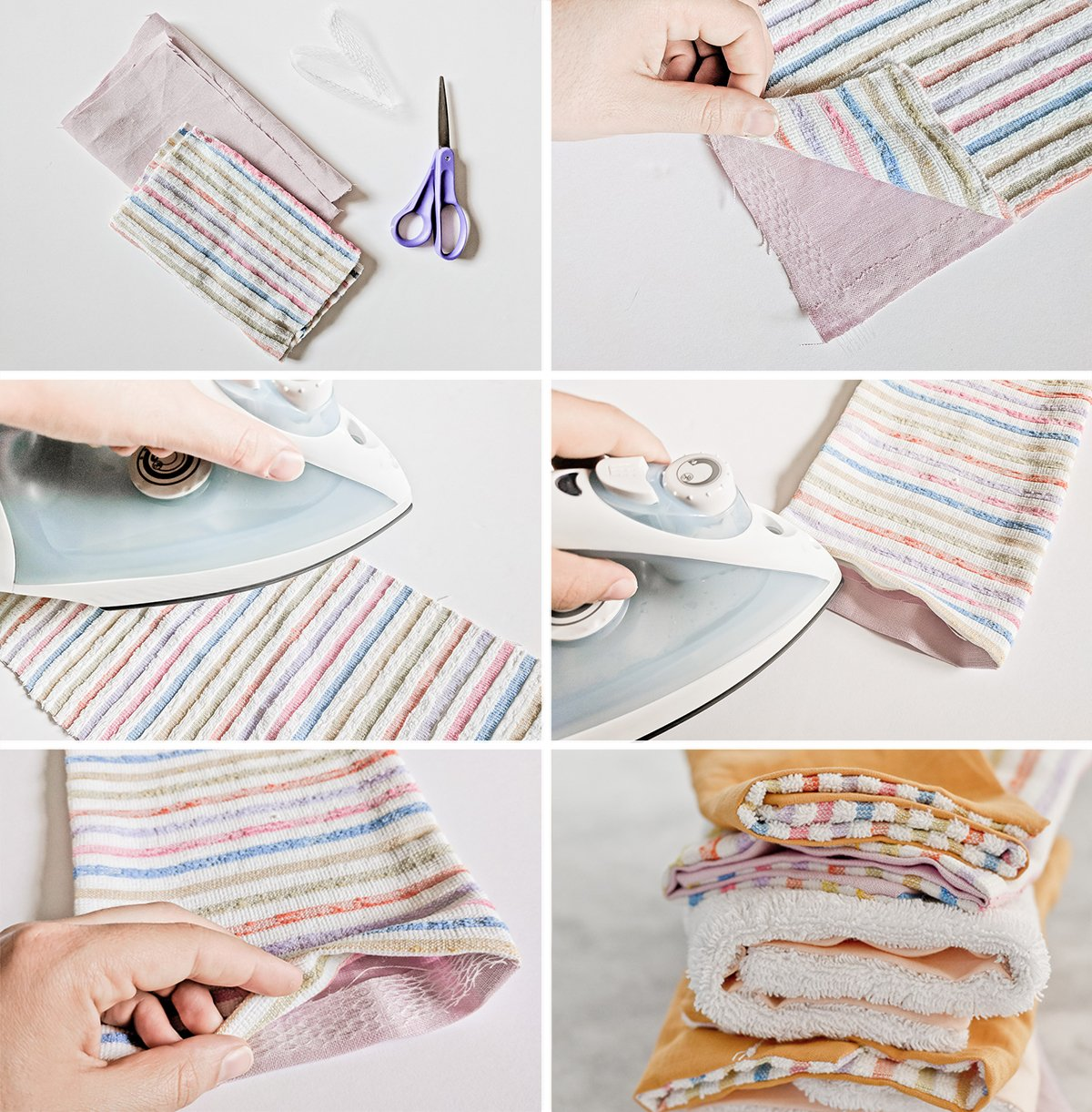 No-sew steps for making DIY unpaper towels.