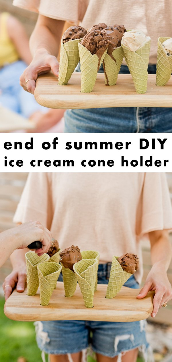 Make this end of summer ice cream cone holder in ten minutes or less, using something you already have in your kitchen. #summer #diy #icecream