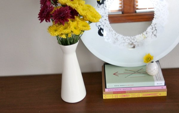 Frosted glass doily mirror DIY idea