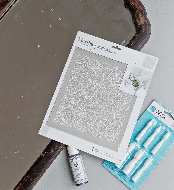 Martha Stewart stencils for DIY mirror
