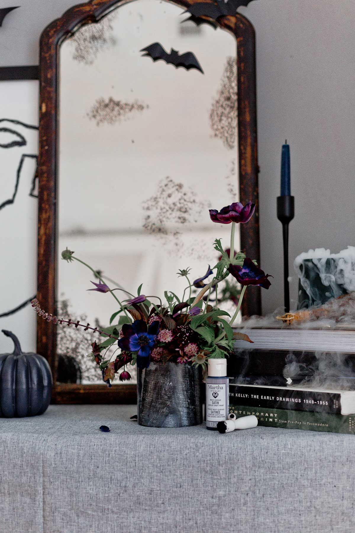 A DIY idea for Halloween decor with stencils and paints.
