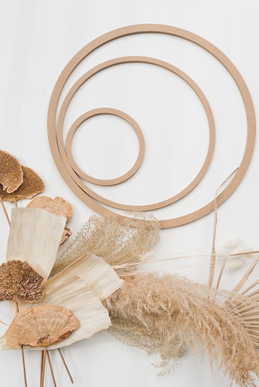 Supplies for making a modern fall wreath.